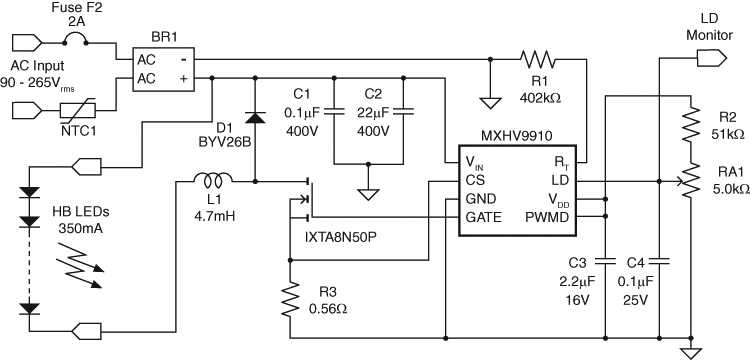 MXHV9910 Typical Application Circuit